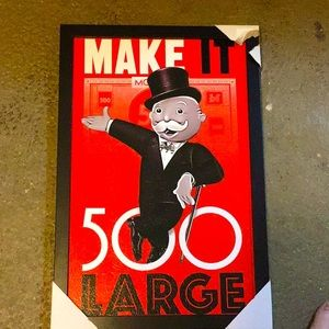 Monopoly 11x 17 Sign with frame. New.